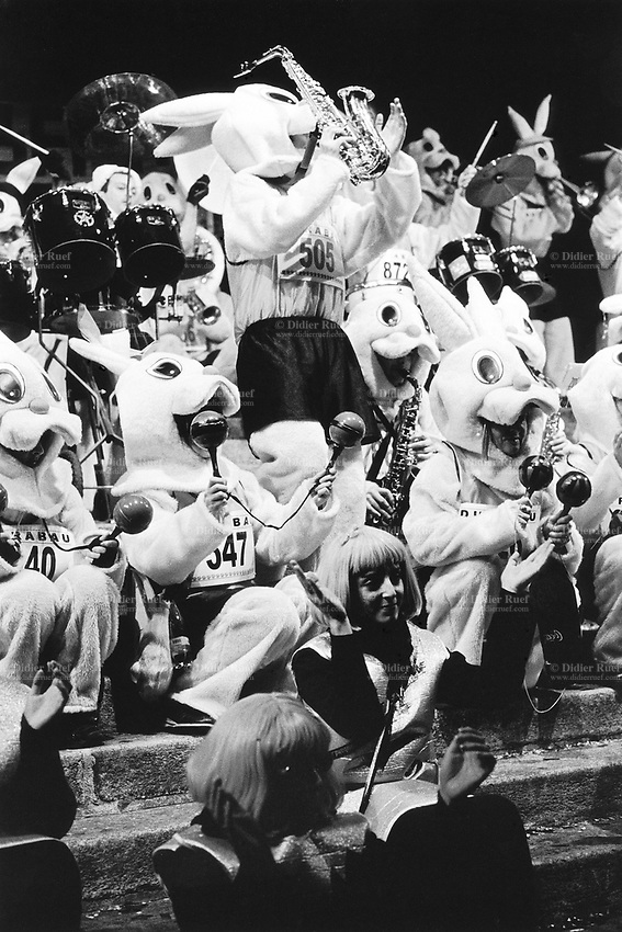 Switzerland. Canton Ticino. Bellinzona. Carnival. Music band. People are dressed up as rabbits. © 2007 Didier Ruef
