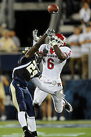 11 September 2010:  FIU cornerback Emmanuel Souarin (24) deflects a pass intended for Rutgers wide receiver Mohamed Sanu (6) in the first quarter as the Rutgers Scarlet Knights defeated the FIU Golden Panthers, 19-14, at FIU Stadium in Miami, Florida.