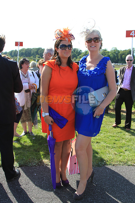 Barbara Tiernan and Kathleen Crowe at the Bellewstown Races 2011...(Photo credit should read Jenny Matthews www.newsfile.ie)....This Picture has been sent you under the conditions enclosed by:.Newsfile Ltd..The Studio,.Millmount Abbey,.Drogheda,.Co Meath..Ireland..Tel: +353(0)41-9871240.Fax: +353(0)41-9871260.GSM: +353(0)86-2500958.email: pictures@newsfile.ie.www.newsfile.ie.