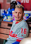 23 August 2018: Philadelphia Phillies infielder Cesar Hernandez chats in the dugout during a game against the Washington Nationals at Nationals Park in Washington, DC. The Phillies shut out the Nationals 2-0 to take the 3rd game of their 3-game mid-week divisional series. Mandatory Credit: Ed Wolfstein Photo *** RAW (NEF) Image File Available ***
