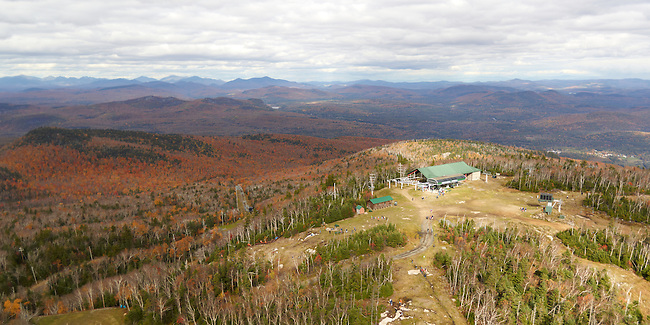 View from a helicopter of the top of Gore Mountain's Northwoods Gondola.