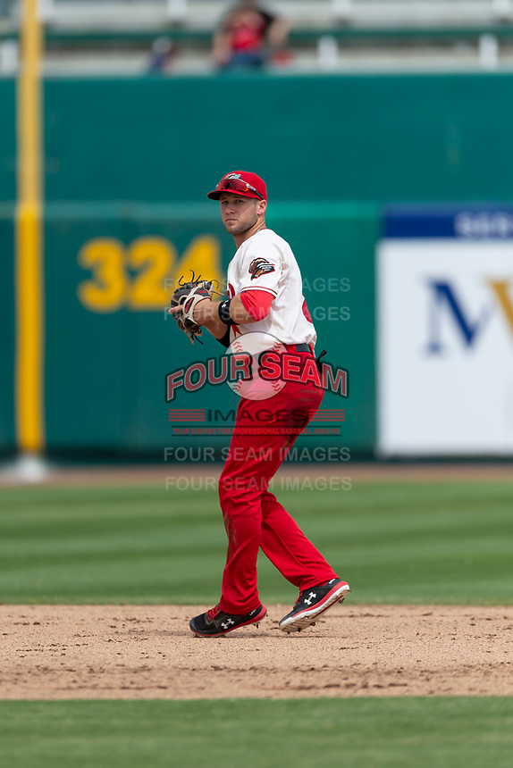 Fresno Grizzlies shortstop Carter Kieboom (8) during a game against the Reno Aces at Chukchansi Park on April 8, 2019 in Fresno, California. Fresno defeated Reno 7-6. (Zachary Lucy/Four Seam Images)