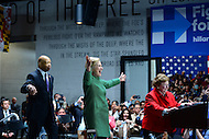 Baltimore, MD - April 10, 2016: Former Secretary of State and 2016 Democratic presidential candidate Hilary Clinton (c) greets supporters on stage with U.S. Rep. Elijah Cummings and U.S. Sen. Barbara Mikulski during a campaign event at the City Garage in Baltimore, MD, April 10, 2016.  (Photo by Don Baxter/Media Images International)