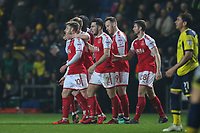 Conor McAleny of Fleetwood Town (10) celebrates with team matesafter he scores the opening goal of the game during the Sky Bet League 1 match between Oxford United and Fleetwood Town at the Kassam Stadium, Oxford, England on 10 April 2018. Photo by David Horn.