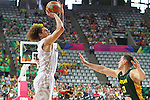 07.09.2014. Barcelona, Spain. 2014 FIBA Basketball World Cup, round of 16. Picture show I. Fotu and P. Jankunas  in action during game between New Zealand   v  Lithuania at Palau St. Jordi