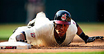 5 September 2009: Cleveland Indians' outfielder Michael Brantley dives safely back to first base, avoiding the pick-off attempt, during a game against the Minnesota Twins at Progressive Field in Cleveland, Ohio. The Indians fell to the Twins 4-1 in the second game of their three-game weekend series. Mandatory Credit: Ed Wolfstein Photo