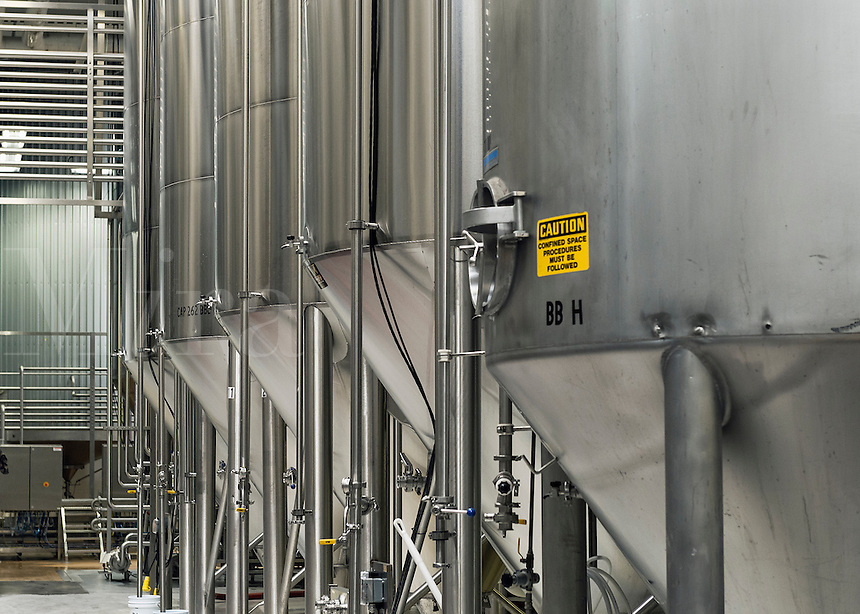 Fermentation tanks at a brewery, USA.