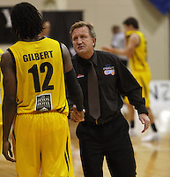 Saints coach Gordon McLeod shakes hands with Phillip Gilbert after the match during the NBL Round 9 match between the Wellington Saints and Nelson Giants at TSB Bank Arena, Wellington, New Zealand on Thursday 7 May 2009. Photo: Dave Lintott / lintottphoto.co.nz