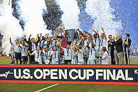 Sporting KC players with trophy..Sporting Kansas City defeated Seattle Sounders on penalty kicks, after a 1-1 tied game to win the Lamar Hunt Open Cup at LIVESTRONG Sporting Park, Kansas City, Kansas..