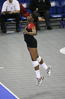 16 December 2006: Stanford Cardinal Nji Nnamani during Stanford's 30-27, 26-30, 28-30, 27-30 loss against the Nebraska Huskers in the 2006 NCAA Division I Women's Volleyball Final Four Championship match at the Qwest Center in Omaha, NE.