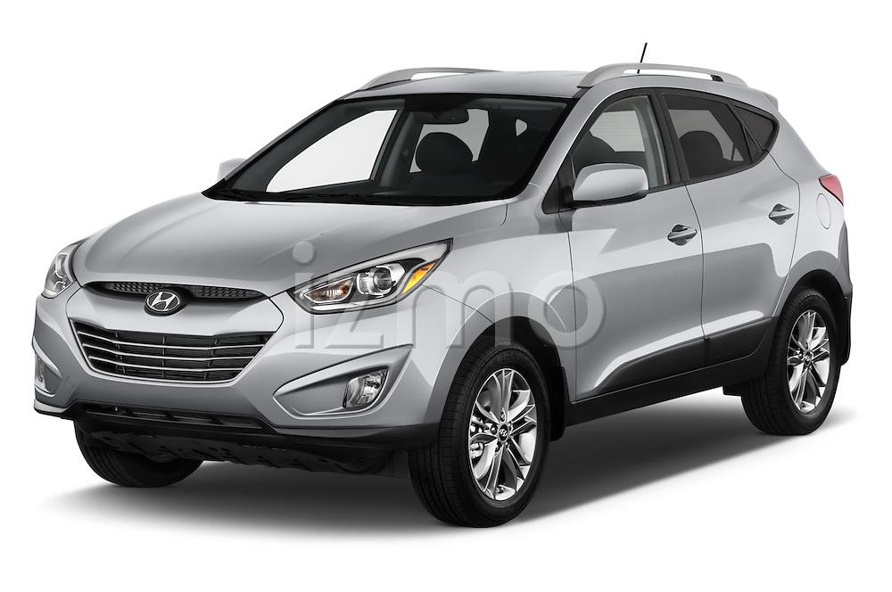 2015 Hyundai Tucson SE Awd 5 Door Suv 2WD Angular Front stock photos of front three quarter view