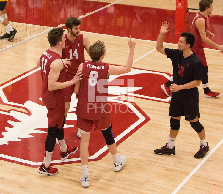 STANFORD, CA - March 10, 2018: Matt Klassen, Leo Henken, Kyler Presho, Evan Enriques at Burnham Pavilion. The Stanford Cardinal lost to UC Irvine, 3-0.