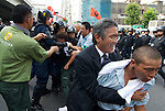 August 15, 2011, Tokyo, Japan - Right-wingers and Police scuffle as right-wingers try to get to left-wing demonstrators holding a demonstration against Yasukuni shrine. (Photo by Bruce Meyer-Kenny/AFLO) [3692]