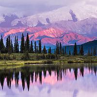 Alaska Range mountains reflect in Wonder Lake, Denali National Park, Alaska.