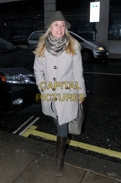 Tamzin Outhwaite.Arrives to BBC Radio 2 studios, London, England, UK, 19th January 2013..full length grey gray hat scarf coat  brown boots bag .CAP/IA.©Ian Allis/Capital Pictures.