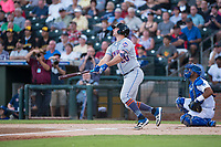 AFL East first baseman Peter Alonso (20), of the Scottsdale Scorpions and the New York Mets organization, hits a home run in front of catcher Keibert Ruiz (17) in the top of the first inning during the Fall Stars game at Surprise Stadium on November 3, 2018 in Surprise, Arizona. The AFL West defeated the AFL East 7-6 . (Zachary Lucy/Four Seam Images)