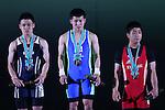 (L-R) <br /> Kazuma Gonda, Hiroaki Takao, <br /> Tatsuya Gonda, <br /> MAY 21, 2016 - Weightlifting : <br /> All Japan Weightlifting Championship 2016 Men's -56kg <br /> Award Ceremony at Yamanashi Municipal Gymnasium, Yamanashi, Japan. <br /> (Photo by AFLO SPORT)