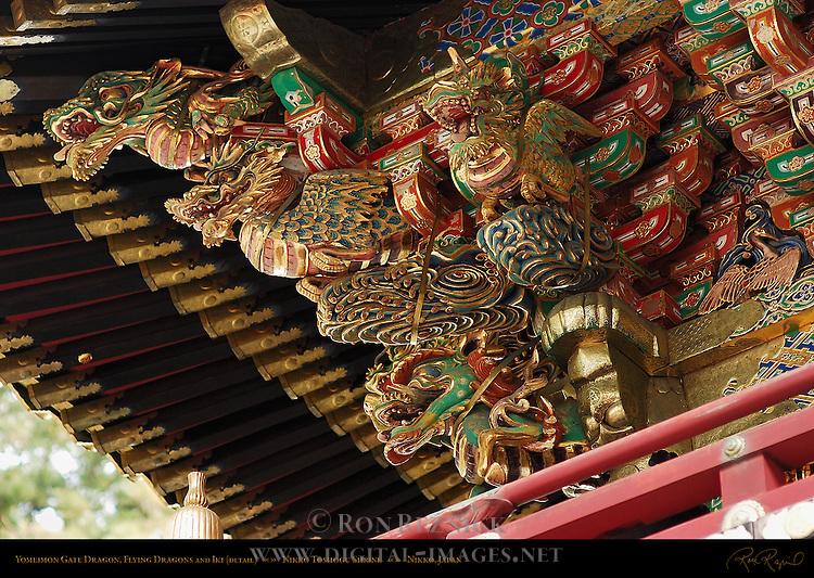 Yomeimon Gate Sculpture Detail Ryu Dragon Hiryu Flying Dragon Iki Dragon with Nostrils Honsha Central Shrine Nikko Toshogu Shrine Nikko Japan