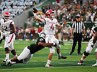 NWA Democrat-Gazette/CHARLIE KAIJO Arkansas Razorbacks quarterback Ty Storey (4) makes a pass during the second quarter of a football game, Saturday, September 8, 2018 at Colorado State University in Fort Collins, Colo.