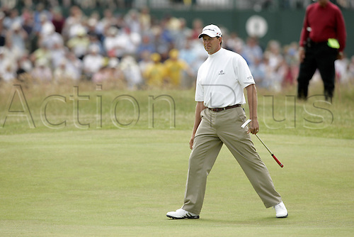 17 July 2005: South African golfer Retief Goosen (RSA) on the 1st green during the final round. Goosen shot a 2 over par 74 to be 7 under and finish in a tie for 5th place at the Open Championship, The Old Course at St Andrews, Scotland. Photo: Glyn Kirk/Actionplus...golf player 050717