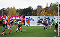 Blackpool's Joe Dodoo scores the opening goal <br /> <br /> Photographer Kevin Barnes/CameraSport<br /> <br /> Emirates FA Cup First Round - Exeter City v Blackpool - Saturday 10th November 2018 - St James Park - Exeter<br />  <br /> World Copyright &copy; 2018 CameraSport. All rights reserved. 43 Linden Ave. Countesthorpe. Leicester. England. LE8 5PG - Tel: +44 (0) 116 277 4147 - admin@camerasport.com - www.camerasport.com