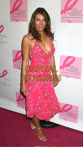 ELIZABETH HURLEY.October Breast Cancer Awareness Campaign Launch held at Bryant Park Grill,.New York, 14th September 2005.full length pink sequin pattern floral print halter neck dress plunging neckline cleavage.Ref: IW.www.capitalpictures.com.sales@capitalpictures.com.©Capital Pictures