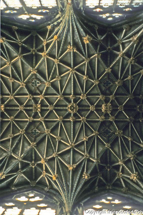 Gloucester: Gloucester Cathedral--choir vaulting, 1331-74. Photo '90.