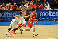MEDELLÍN - COLOMBIA, 25-08-2017: Alexander ABREU y Christopher ORTIZ de Puerto Rico disputan el balón con Idris DAWUD de Mexico durante partido de la fase de grupos, grupo A, de la FIBA AmeriCup 2017 jugado en el coliseo Iván de Bedout de la ciudad de Medellín.  El AmeriCup 2017 se juega  entre el 25 de agosto y el 3 de septiembre de 2017 en Colombia, Argentina y Uruguay. / Alexander ABREU and Christopher ORTIZ from Puerto Rico fight for the ball with Idris DAWUD of Mexico during the match of the group stage Group A of the FIBA AmeriCup 2017 played at Ivan de Bedout  coliseum in Medellin. The AmeriCup 2017 is played between August 25 and September 3, 2017 in Colombia, Argentina and Uruguay. Photo: VizzorImage / León Monsalve / Cont