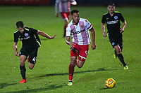 Kyle Wootton of Stevenage evades Jayson Molumby of Brighton during Stevenage vs Brighton & Hove Albion Under-21, Checkatrade Trophy Football at the Lamex Stadium on 7th November 2017