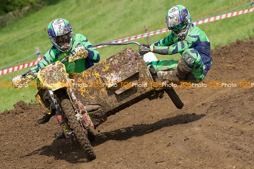 Elliot and Scott Ryan in action during ACU British Sidecar Cross Championship Round Three at Wattisfield Hall MX Track on 22nd May 2016