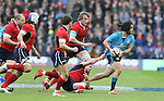 Luke McLean of Italy has his shirt pulled by Stuart Hogg of Scotland - RBS 6Nations 2015 - Scotland  vs Italy - BT Murrayfield Stadium - Edinburgh - Scotland - 28th February 2015 - Picture Simon Bellis/Sportimage