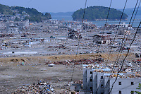 Minamisanriku, Myiagi, Japan May 18, 2011. The fishing port of Minamisanriku, was devastated after the March 11th Tsunami when the popultion was reduced from 18,000 to about 8,000 as 10,0000 where washed out to sea.<br /> <br /> Photo by Richard Jones/ Sinopix