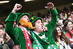 Patriotic Ireland fans in fancy dress.<br /> RBS 6 Nations<br /> Wales v Ireland<br /> Millennium Stadium<br /> 14.03.15<br /> &copy;Steve Pope - SPORTINGWALES