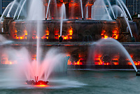 Buckinham Fountain in Chicago's Grant Park put on a nightly color and water show at dusk in the summer months, Lake Michigan Lakefront, Chicago, Illinois