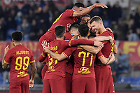 Edin Dzeko of AS Roma celebrates with team mates after scoring the goal of 3-0 <br /> Roma 23/02/2020 Stadio Olimpico <br /> Football Serie A 2019/2020 <br /> AS Roma - Lecce<br /> Photo Andrea Staccioli / Insidefoto