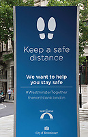 Social distancing signs around Central London<br /> Social Distancing, Hand Sanitiser stations and NHS signage around London as Lockdown restrictions are loosened by allowing Pubs, Restaurants and all retail to re-open. London on Saturday July 4th 2020<br /> <br /> Photo by Keith Mayhew
