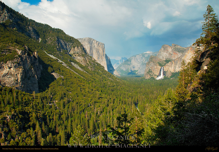 Yosemite Valley in Spring from Wawona Tunnel Airshaft, El Capitan, Clouds Rest, Half Dome, Sentinel Rock, Sentinel Dome, Bridalveil Fall and Cathedral Rocks, Yosemite National Park