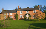 Red brick buildings of Street Farm, Shottisham, Suffolk, England