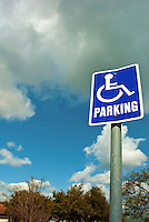 Blue Handicapped Parking Sign, White Letters