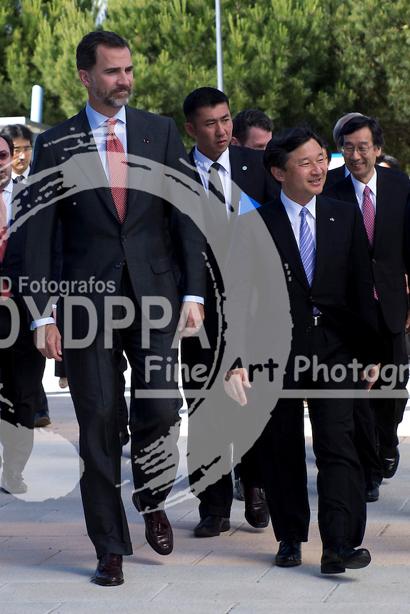 12.06. 2013. Madrid. Spain. Prince Felipe of Spain and Prince Naruhito of Japan visit The Job Center of Canal Isabel II. In the image: Prince Felipe and Prince Naruhito. (C) Ivan L. Naughty / DyD Fotografos//