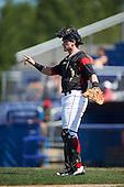 Batavia Muckdogs catcher Alex Jones (55) during a game against the Auburn Doubledays on September 5, 2016 at Dwyer Stadium in Batavia, New York.  Batavia defeated Auburn 4-3. (Mike Janes/Four Seam Images)