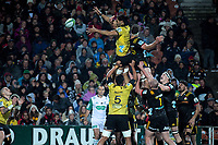 Hurricanes lock Michael Fatialofa hands lineout ball down to TJ Perenara (left) during the Super Rugby match between the Chiefs and Hurricanes at FMG Stadium in Hamilton, New Zealand on Friday, 13 July 2018. Photo: Dave Lintott / lintottphoto.co.nz