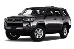 Stock pictures of low aggressive front three quarter view of 2020 Toyota 4-Runner SR5 5 Door SUV Low Aggressive