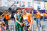 Shane Finn with Mayor Norma Foley in Tralee during his 23rd marathon.