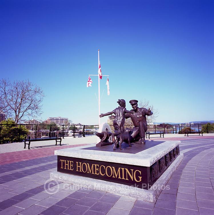 """The Homecoming"" Sculpture (sculptor Nathan Scott) at Ship's Point along Inner Harbour, Victoria, BC, Vancouver Island, British Columbia, Canada - Monument commemorating 100th Anniversary of Canadian Navy 1910 - 2010"