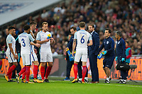 England&rsquo;s manager Gareth Southgate talks to John Stones <br /> <br /> Photographer Craig Mercer/CameraSport<br /> <br /> FIFA World Cup Qualifying - European Region - Group F - England v Solvenia - Thursday 5th October 2017 - Wembley Stadium - London<br /> <br /> World Copyright &copy; 2017 CameraSport. All rights reserved. 43 Linden Ave. Countesthorpe. Leicester. England. LE8 5PG - Tel: +44 (0) 116 277 4147 - admin@camerasport.com - www.camerasport.com