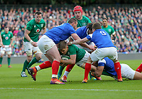 Sunday10th March 2019 | Ireland vs France<br /> <br /> Garry Ringrose drives for the line during the Guinness 6 Nations clash between Ireland and France at the Aviva Stadium, Lansdowne Road, Dublin, Ireland. Photo by John Dickson / DICKSONDIGITAL