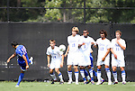 04 September 2011: SMU's Arthur Ivo (BRA) takes a free kick towards a wall of Duke's Rob Dolot (24), Nat Eggleston (18), Sebastien Ibeagha (5), Jonathan Aguirre, and Nick Palodichuk (11). The Southern Methodist University Mustangs defeated the Duke University Blue Devils 1-0 in overtime at Koskinen Stadium in Durham, North Carolina in an NCAA Division I Men's Soccer game.