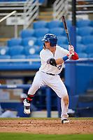 Dunedin Blue Jays first baseman Kacy Clemens (24) at bat during a game against the Lakeland Flying Tigers on May 27, 2018 at Dunedin Stadium in Dunedin, Florida.  Lakeland defeated Dunedin 2-1.  (Mike Janes/Four Seam Images)