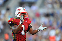 Terrapins' Adrian Motem celebrates after stopping Navy's offense. Maryland defeated Navy 17-14 at the M&T Bank in Baltimore, MD on Monday, September 6, 2010. Alan P. Santos/DC Sports Box